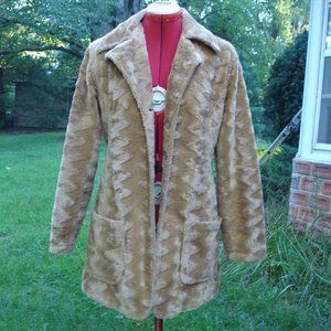 Vintage 70's Faux Fur Fitted Coat M / L
